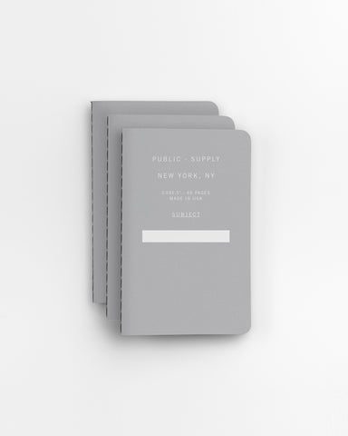 "PUBLIC SUPPLY - 3.5X5.5"" NOTEBOOK - GREY 3 PACK"