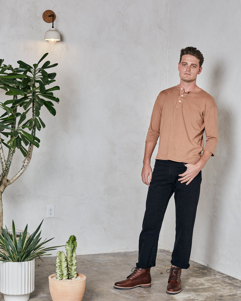 Load image into Gallery viewer, DAVIS 3/4 SLEEVE HENLEY - PECAN