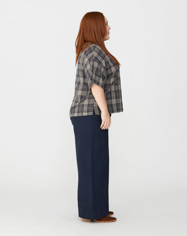 PLUS - NAOMI BOXY TOP - NAVY PLAID