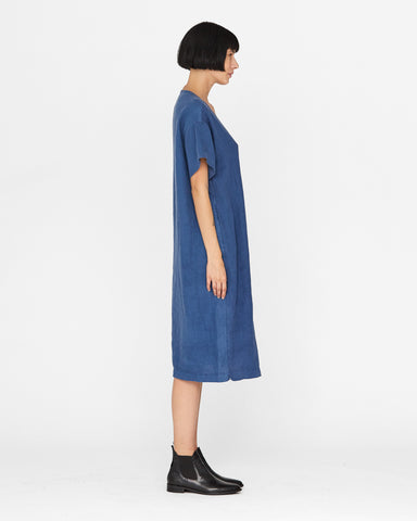 HARLOW DOUBLE BREASTED DRESS - DENIM BLUE