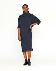MURPHY DOLMAN RIB DRESS - MIDNIGHT