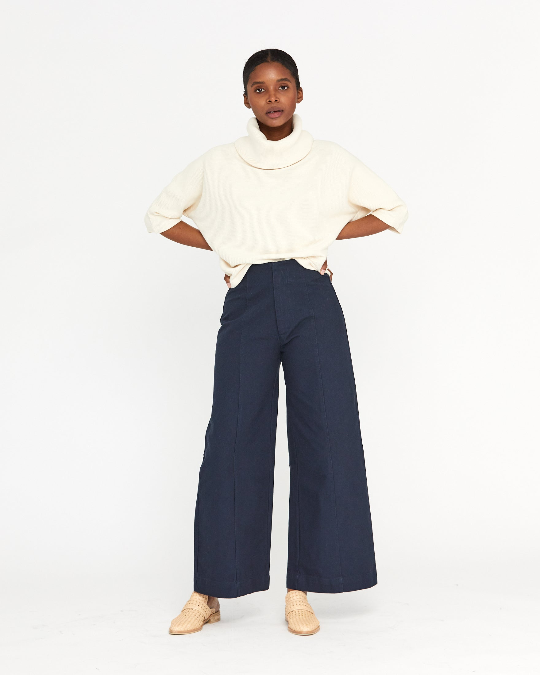 MESA DOLMAN RIB TURTLENECK - NATURAL