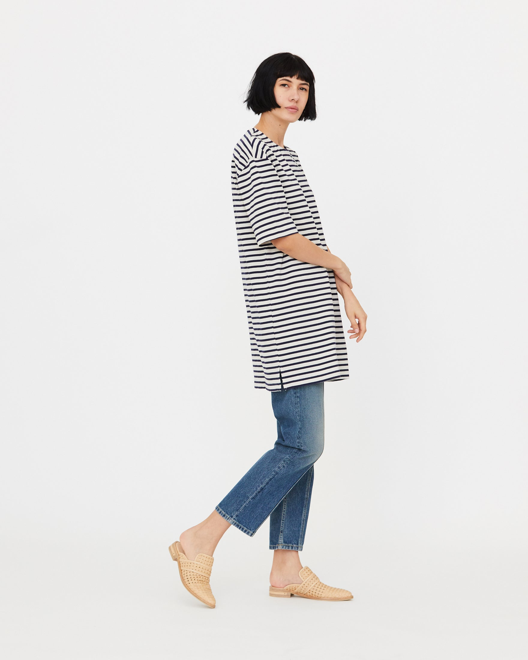 EVELYN SHIRT DRESS - WHITE/MIDNIGHT STRIPE