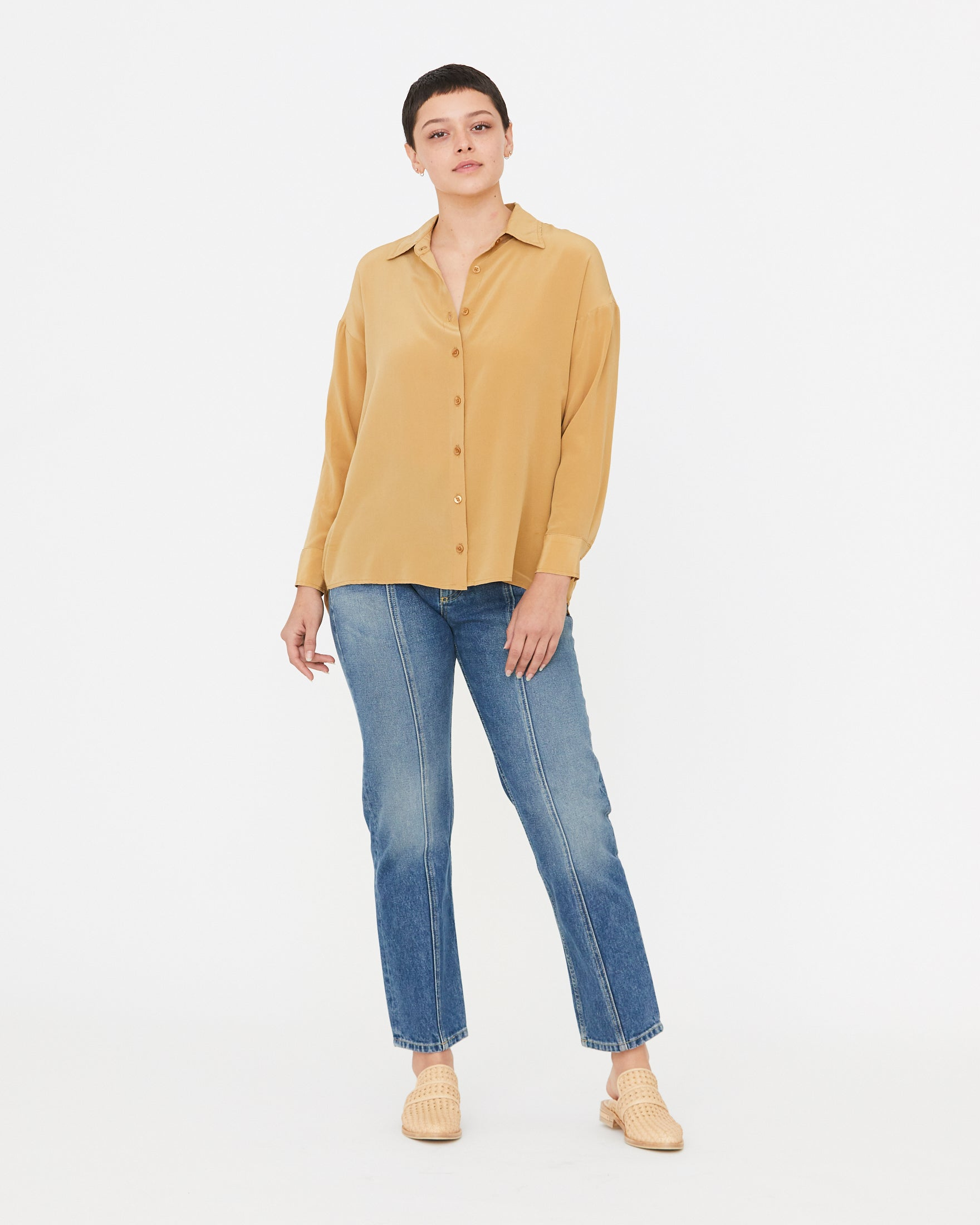 CAMBRIA SILK BUTTON DOWN - GOLDEN
