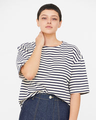 MEREDITH TOP - WHITE/MIDNIGHT STRIPE