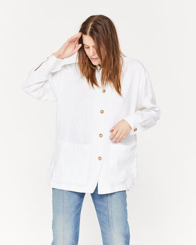 JAMES LINEN JACKET - WHITE SAND