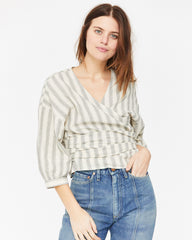 COLETTE WRAP TOP - HIGHWAY STRIPE