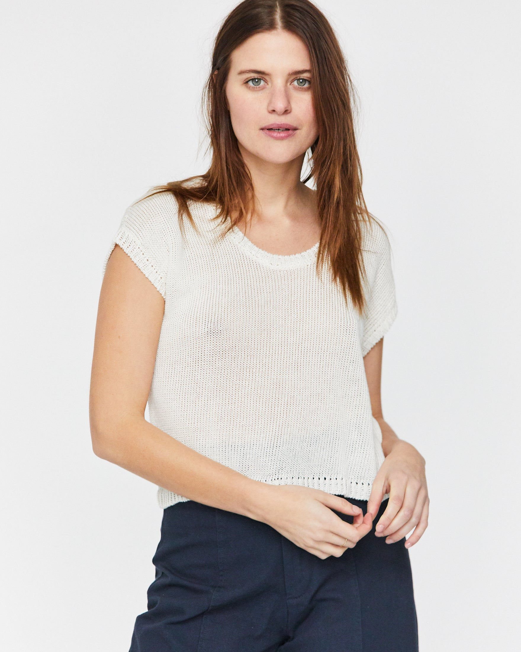 LAUREL SWEATER TANK - WHITE SAND