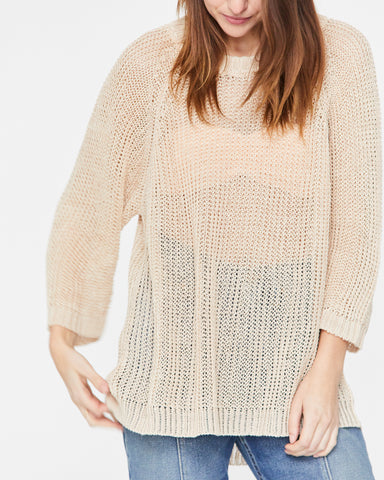 LUCY LINEN SWEATER - PEARL