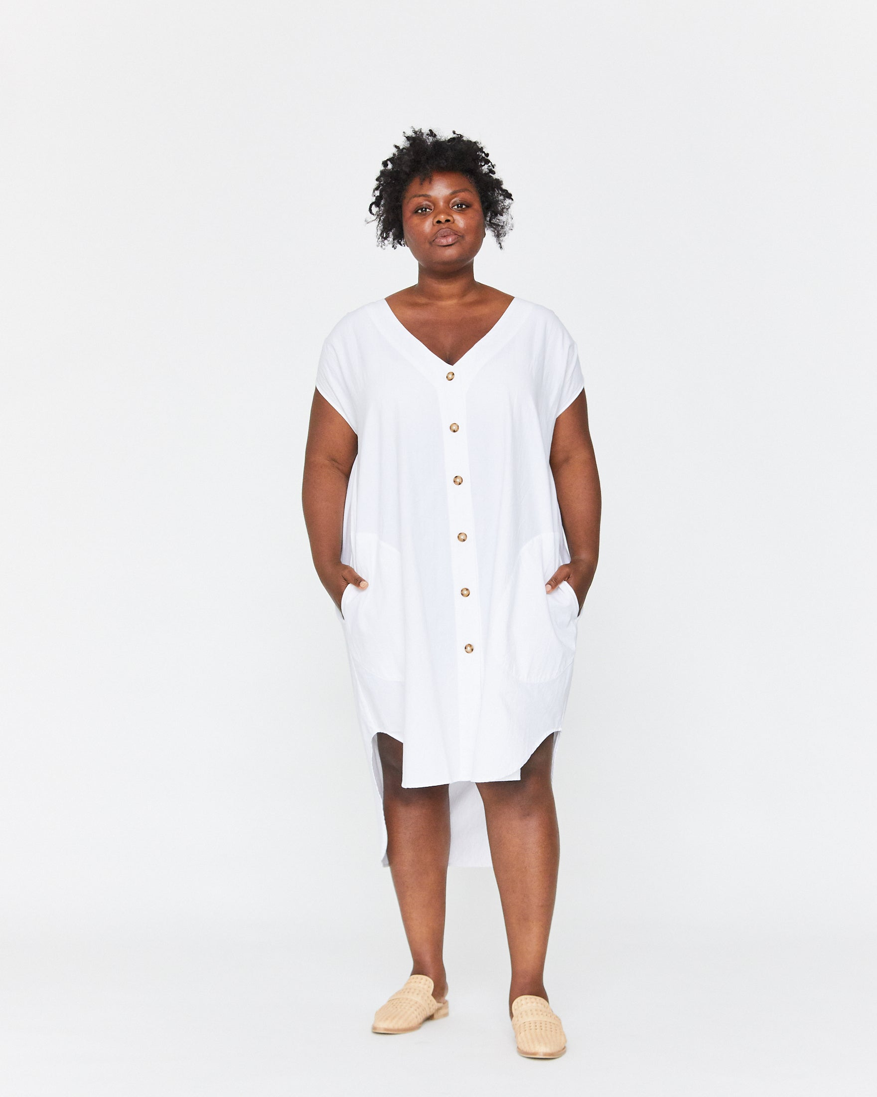 DELPHINE BUTTON DOWN DRESS - WHITE SAND