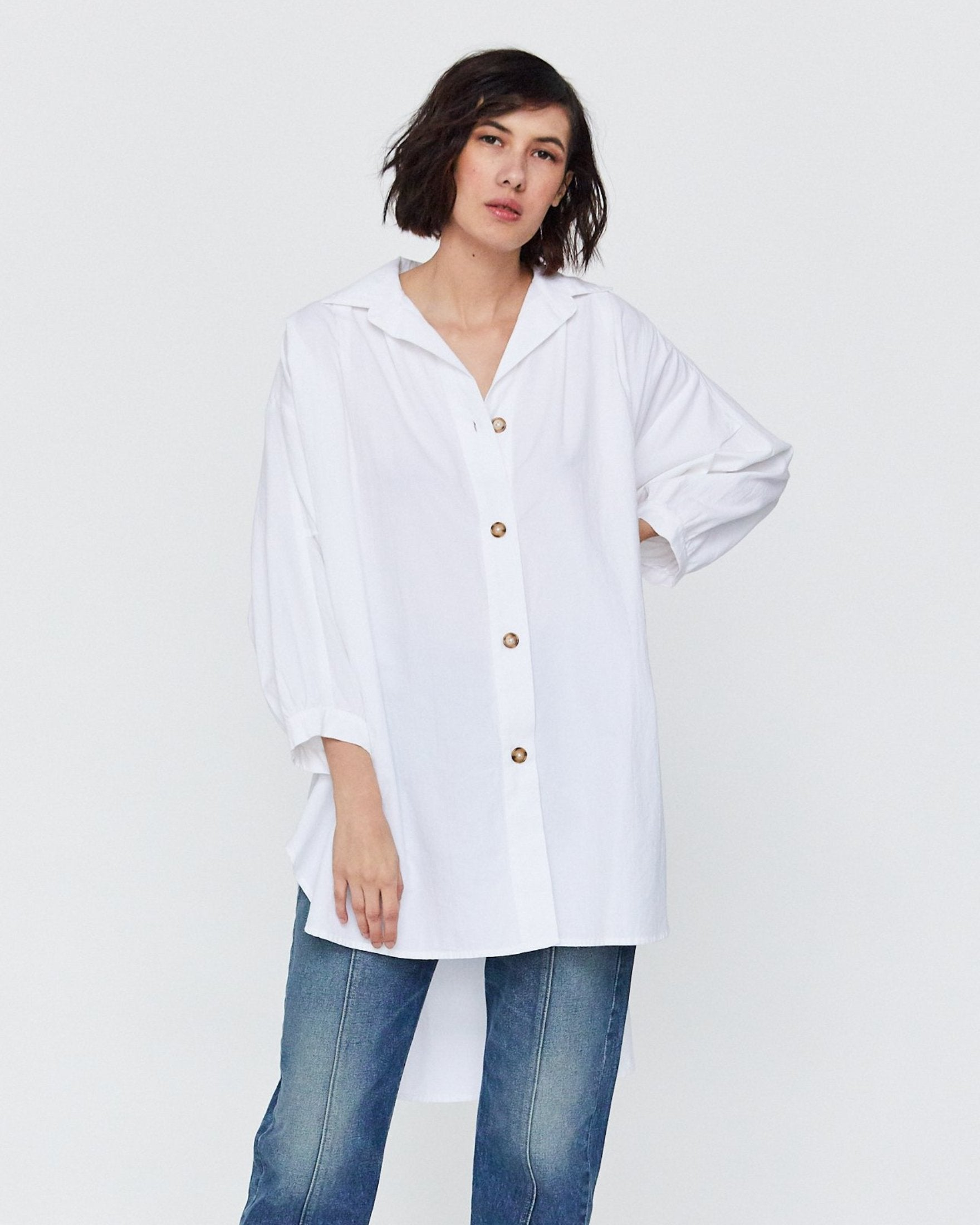 CHELLE OVERSIZED BUTTON DOWN - WHITE SAND