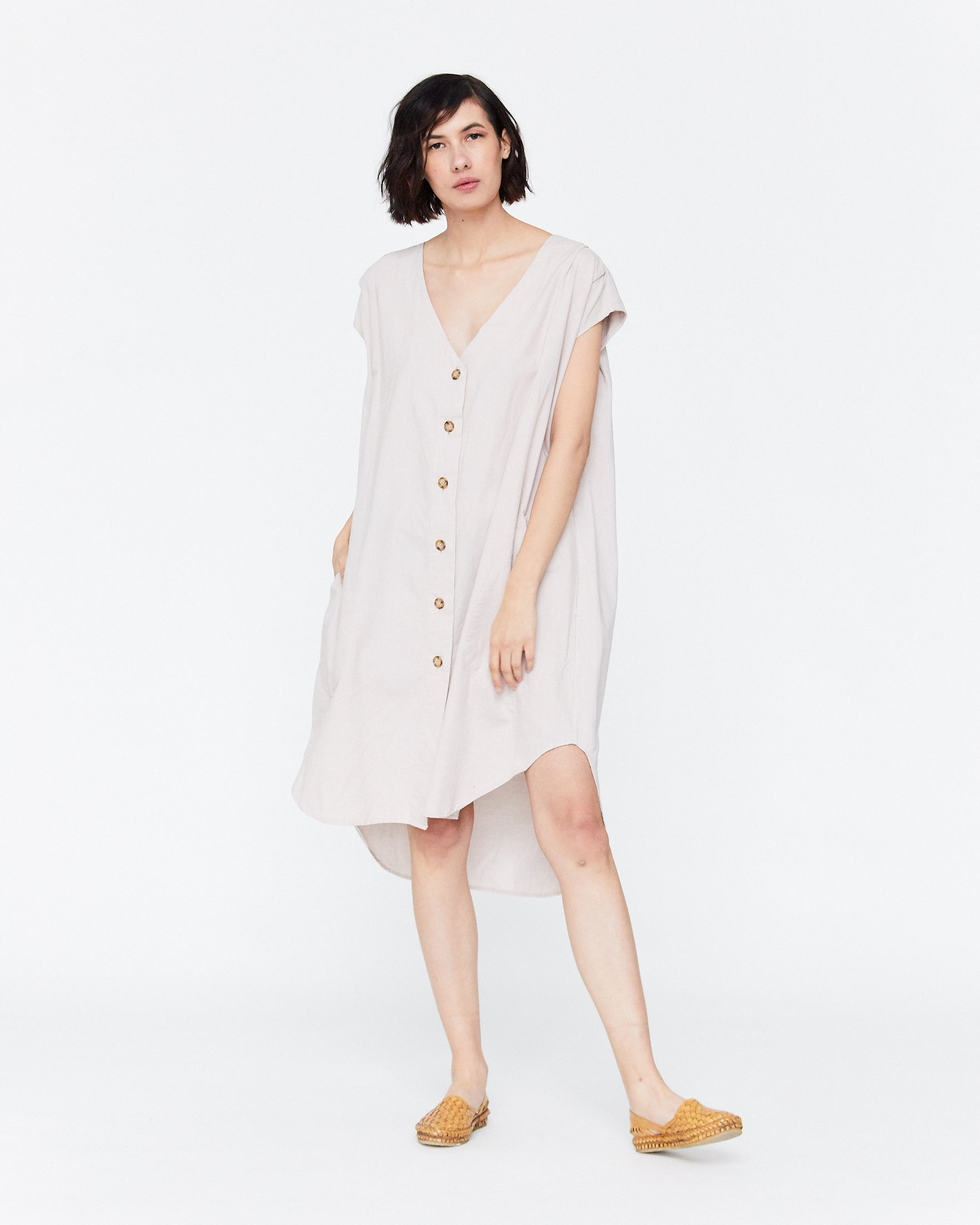 DELPHINE BUTTON DOWN DRESS - PEARL