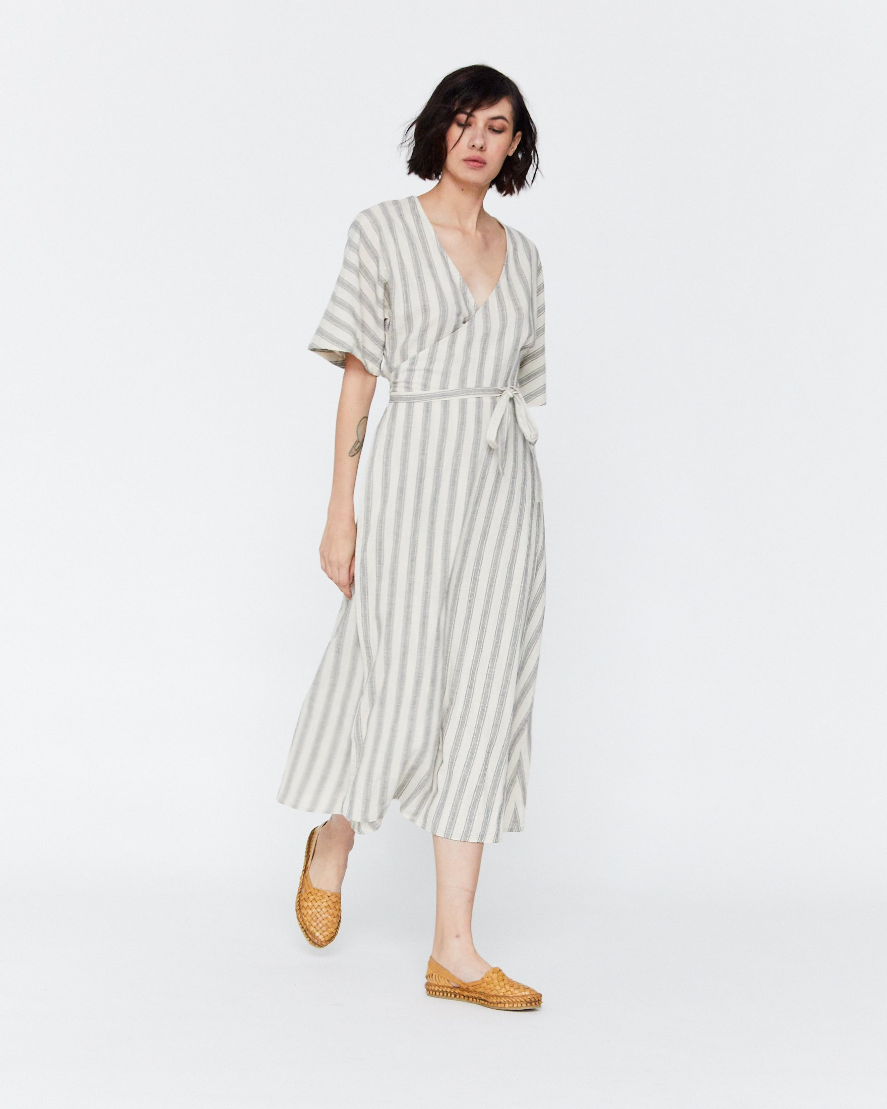 MONET WRAP DRESS - HIGHWAY STRIPE