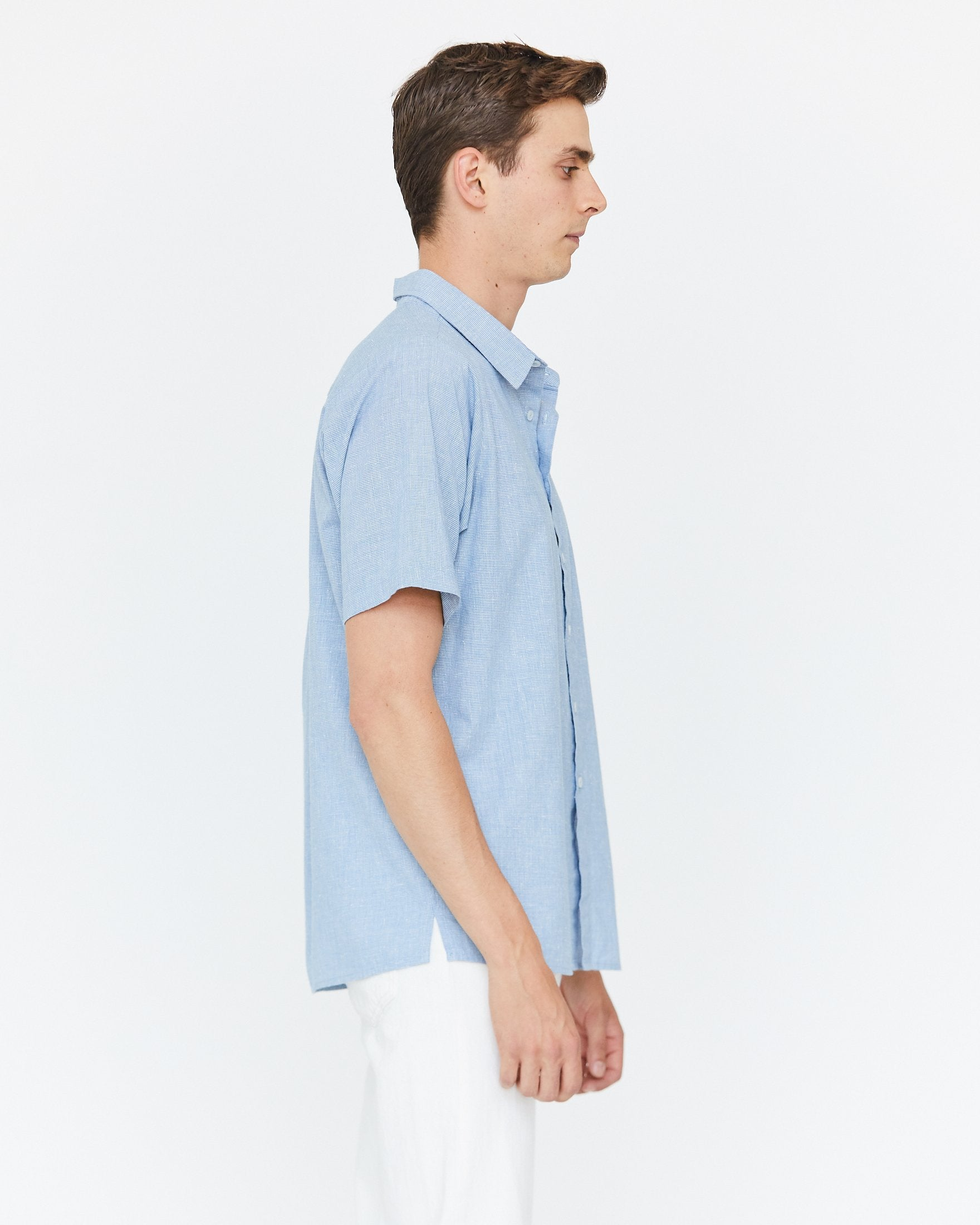 JEREMY BUTTON DOWN - OCEAN BLUE HOUNDSTOOTH