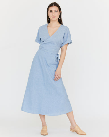 MONET WRAP DRESS - OCEAN BLUE HOUNDSTOOTH