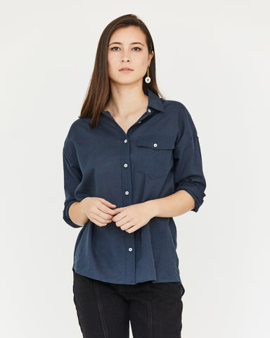 JUNE BUTTON DOWN - MIDNIGHT