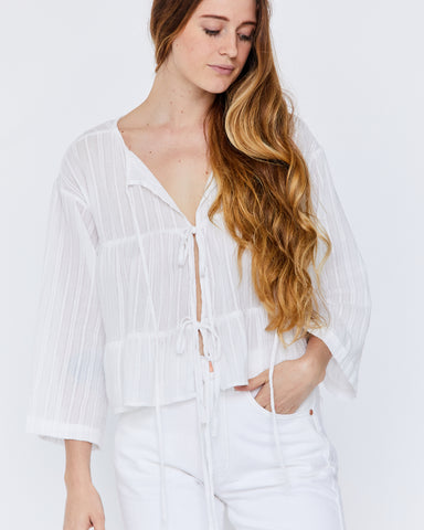 KIKO TOP - WHITE SHEER DOBBY