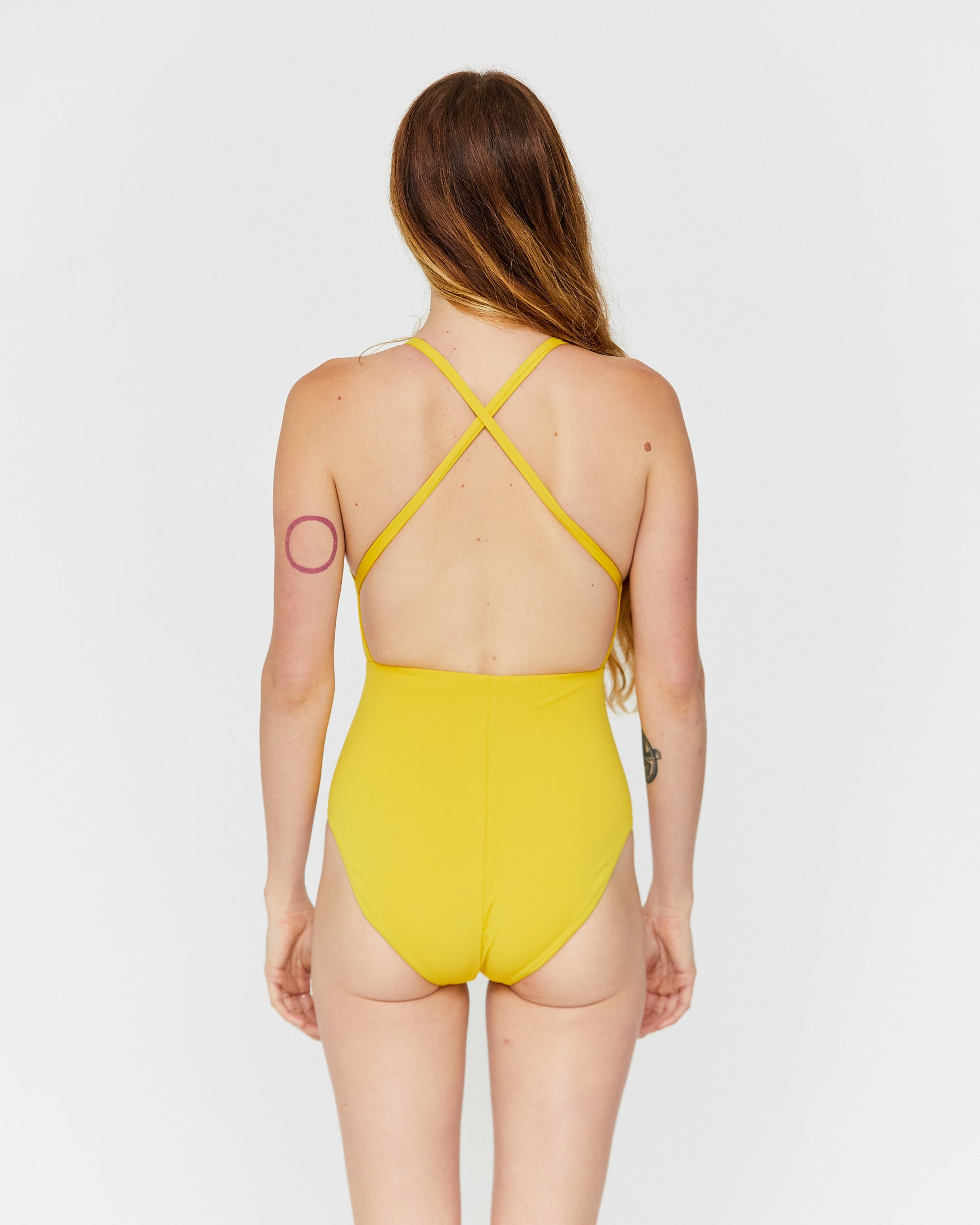 MARIA CUT OUT ONE-PIECE - CURRY