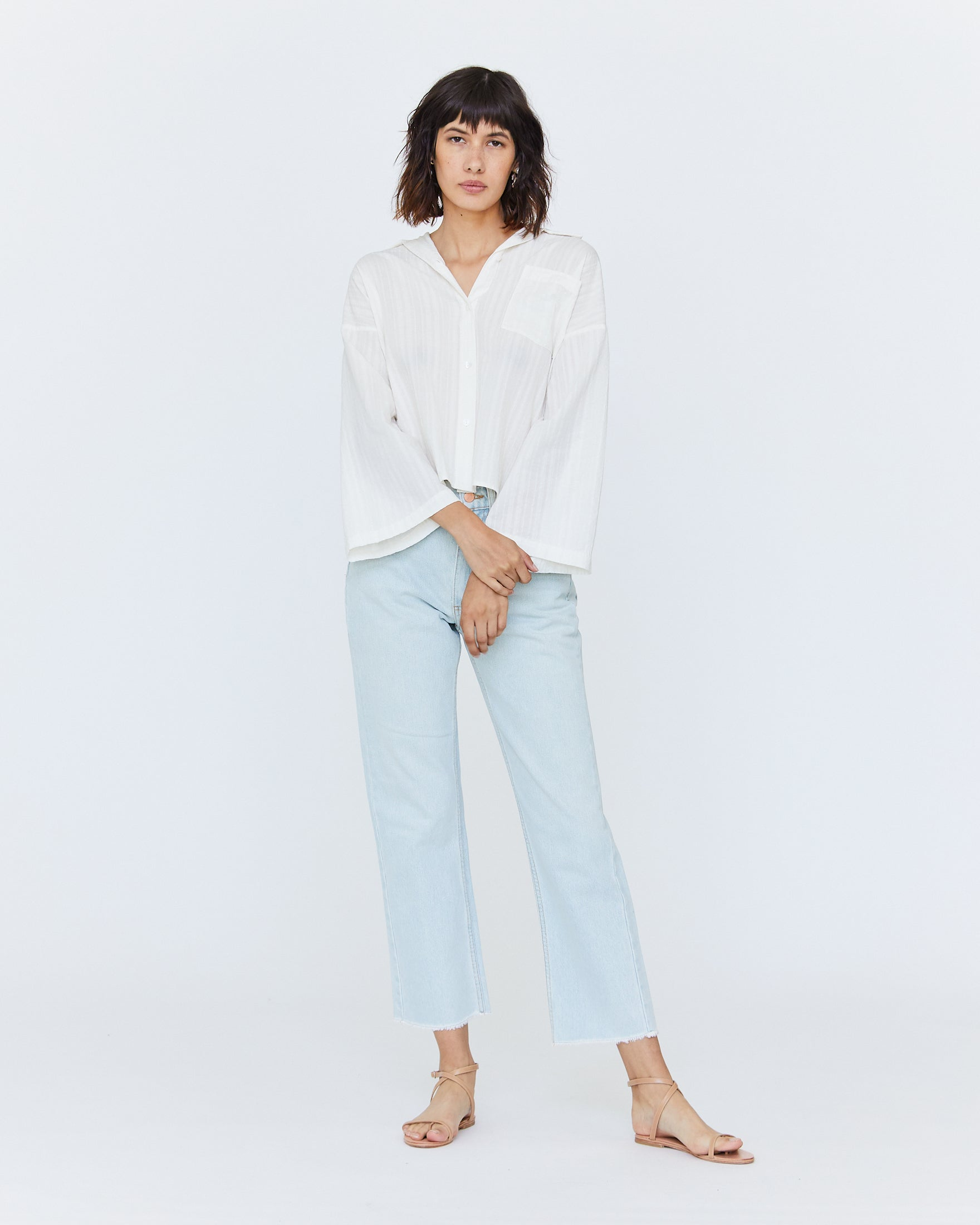 GLENN BOXY BUTTON DOWN - WHITE SAND DOBBY