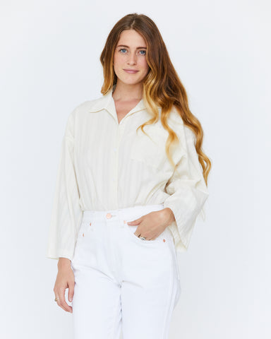 GLENN BOXY BUTTON DOWN - NATURAL DOBBY