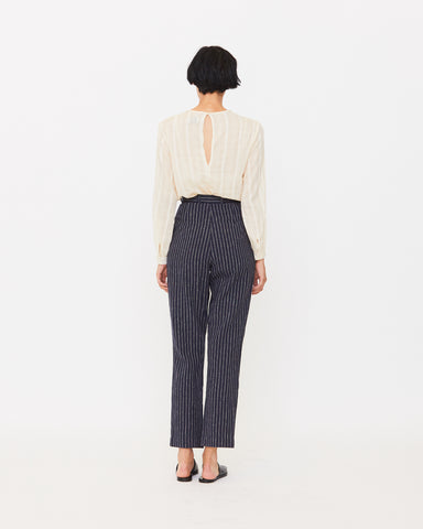 EMMA TROUSER - NAVY/NATURAL STRIPE