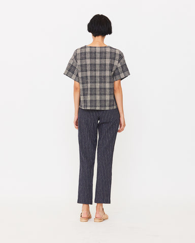 NAOMI BOXY TOP - NAVY PLAID