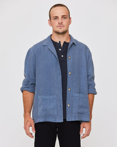 JAMES LINEN JACKET - OCEAN BLUE