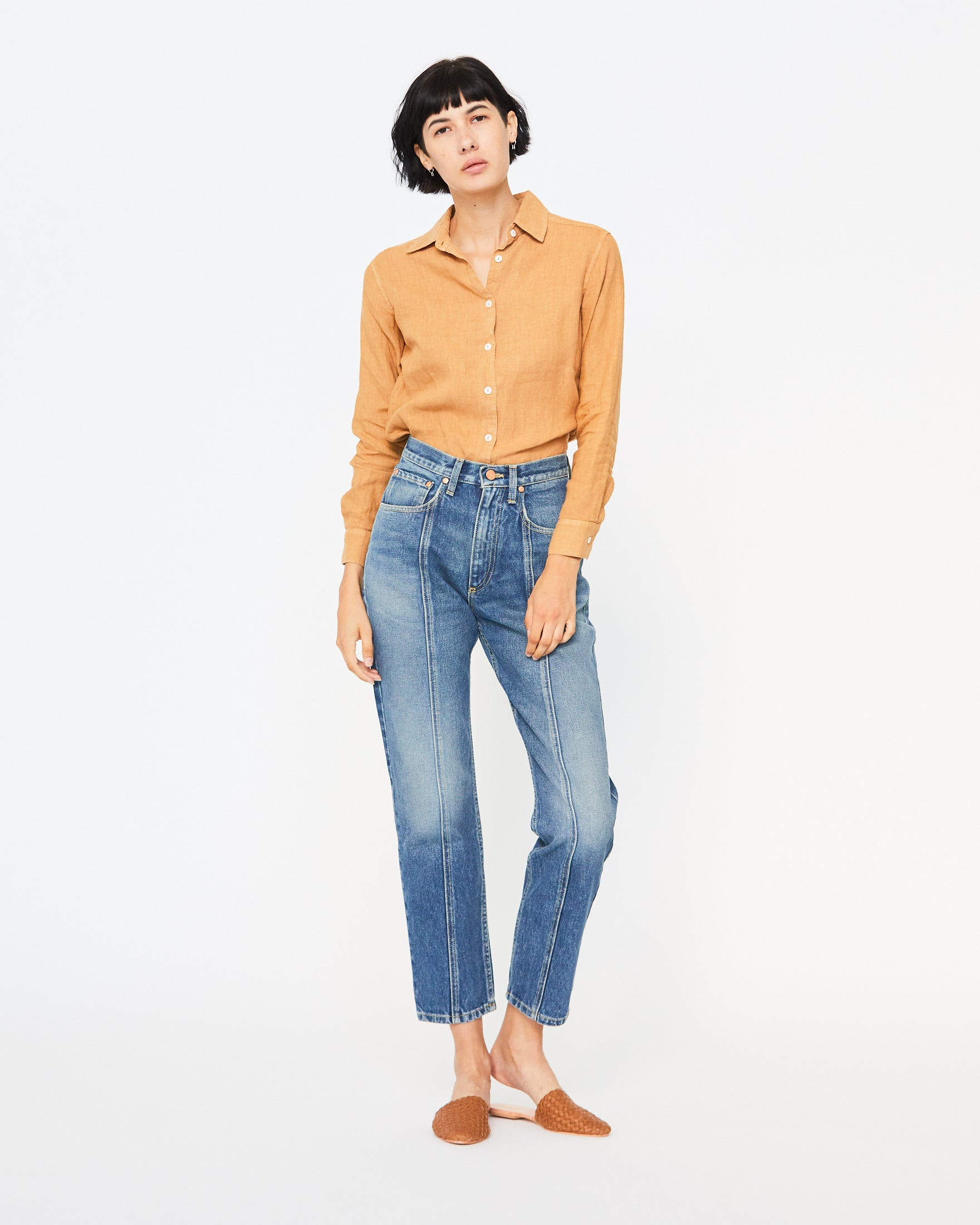 BREE LINEN BUTTON DOWN - GOLDEN