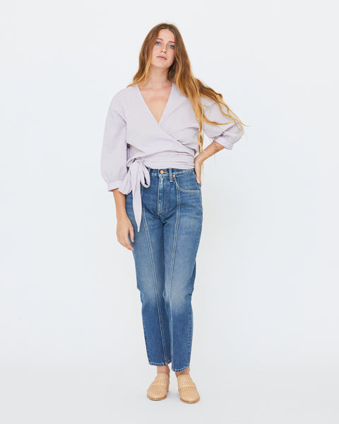 COLETTE WRAP TOP - LILAC STRIPE