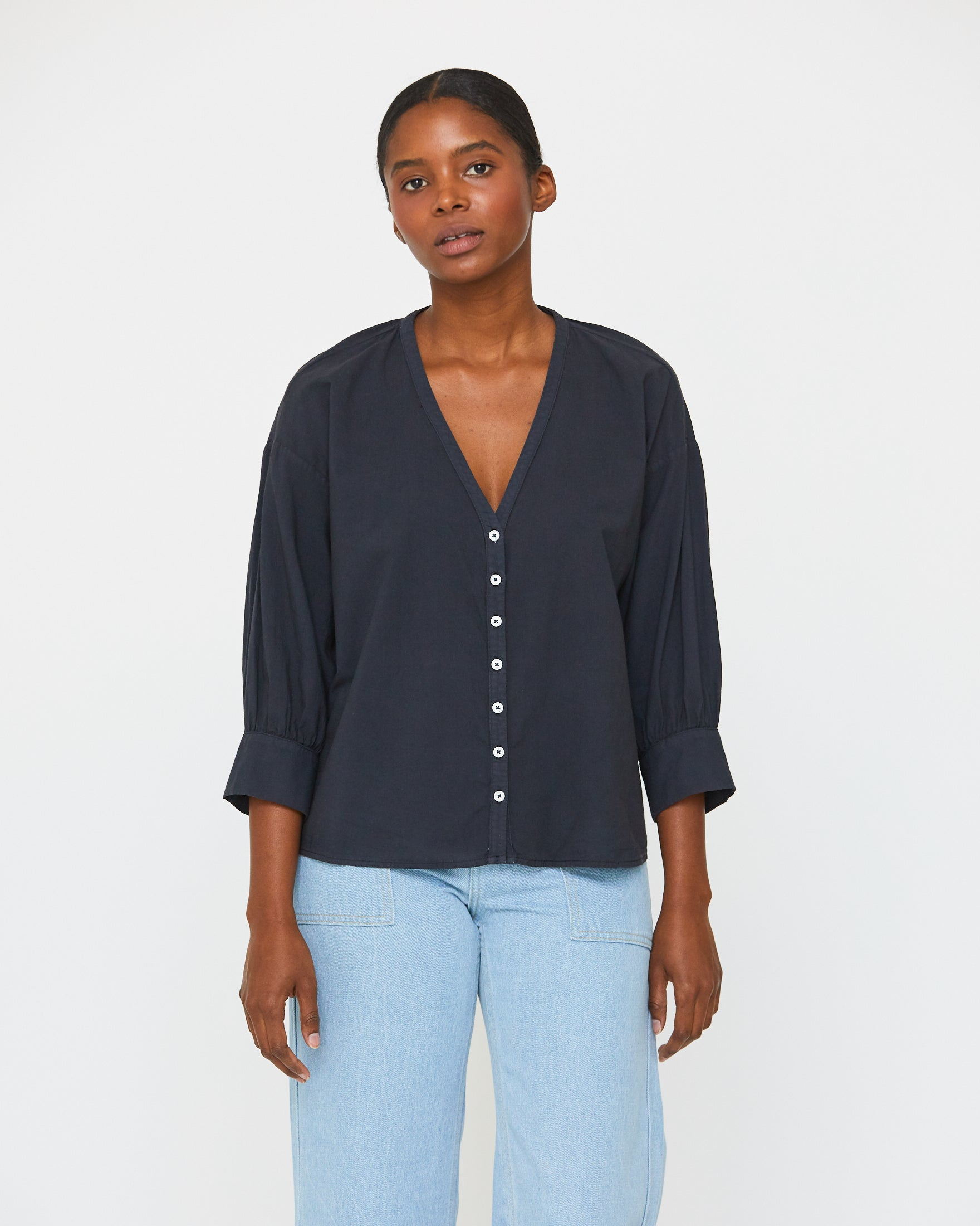 LAUREN PRAIRIE BLOUSE - MIDNIGHT