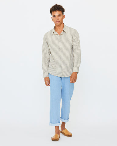 PERCY BUTTON DOWN - NATURAL/MIDNIGHT STRIPE