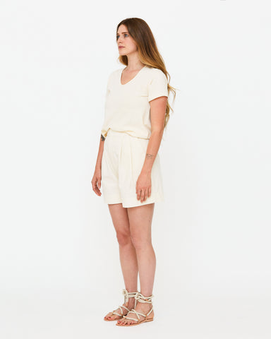PENNY PLEATED SHORT - NATURAL SLUB