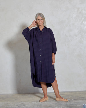 Load image into Gallery viewer, VIOLA DRESS - INDIGO DOBBY