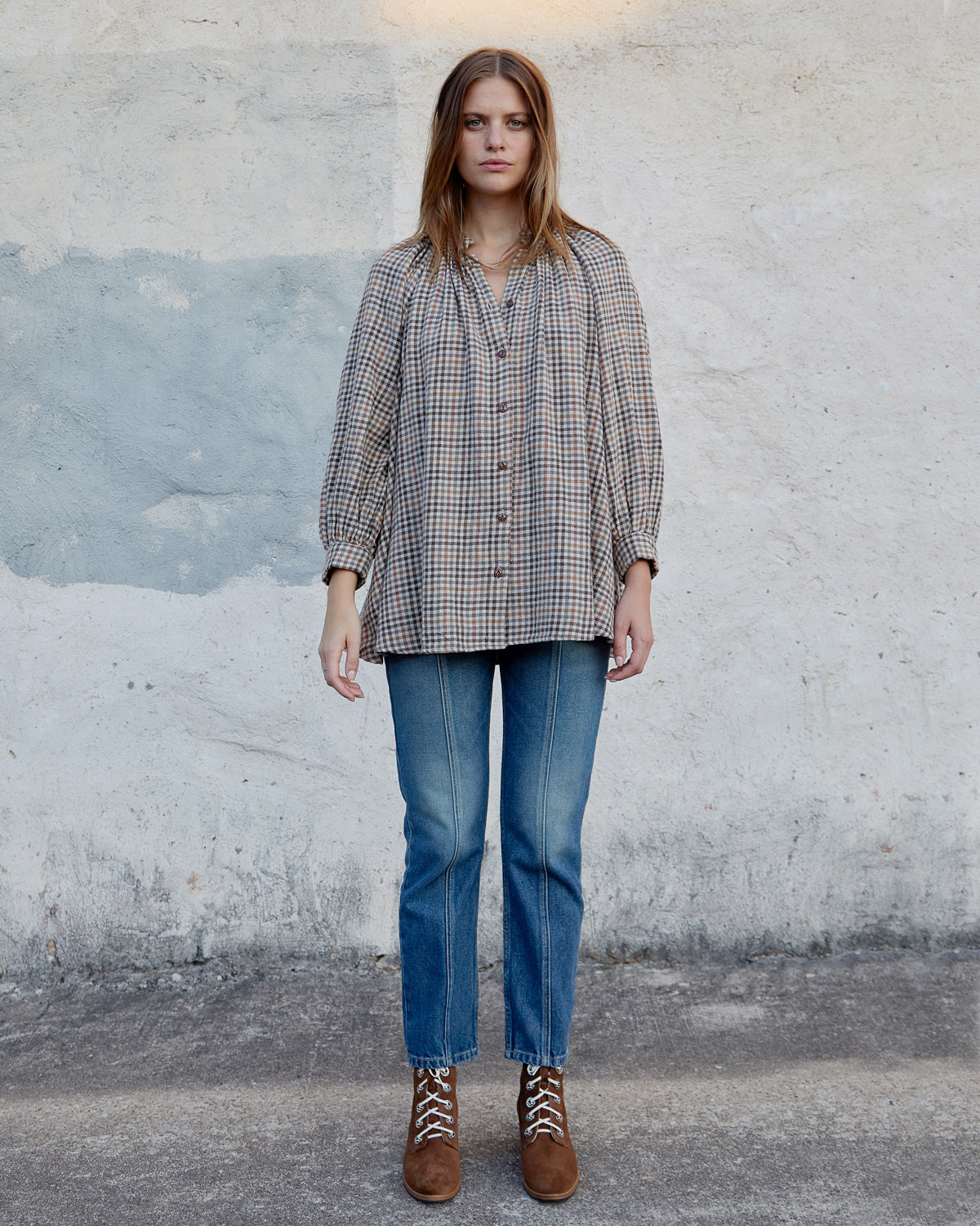 LIZA TOP - BROWN VINTAGE CHECK