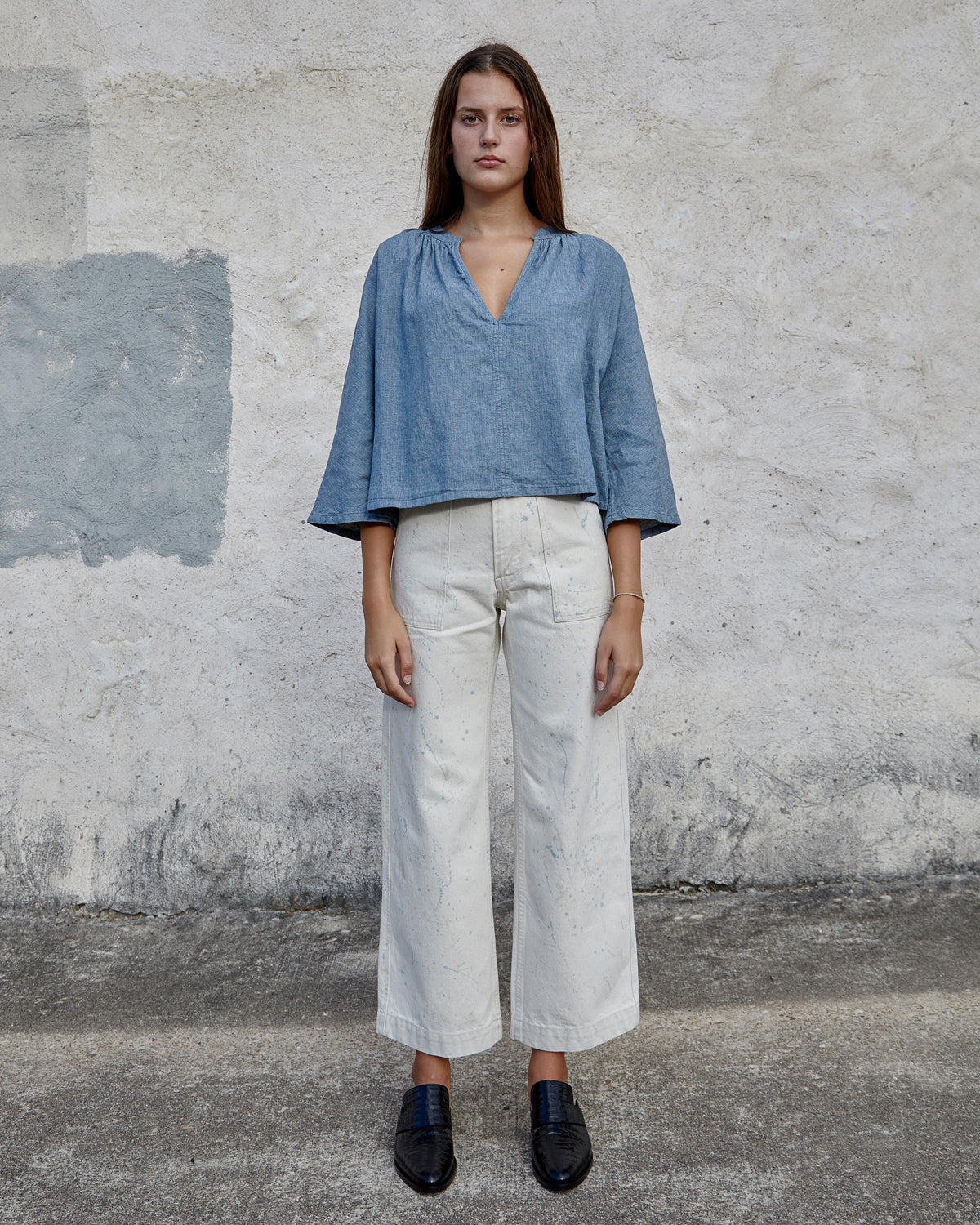 LILY TOP - CHAMBRAY HERRINGBONE