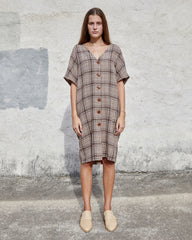 MACI DRESS - BROWN VINTAGE PLAID