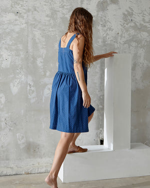 ELOISE DRESS - INDIGO DOT