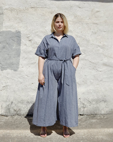 SAVANNAH JUMPSUIT - INDIGO STRIPE