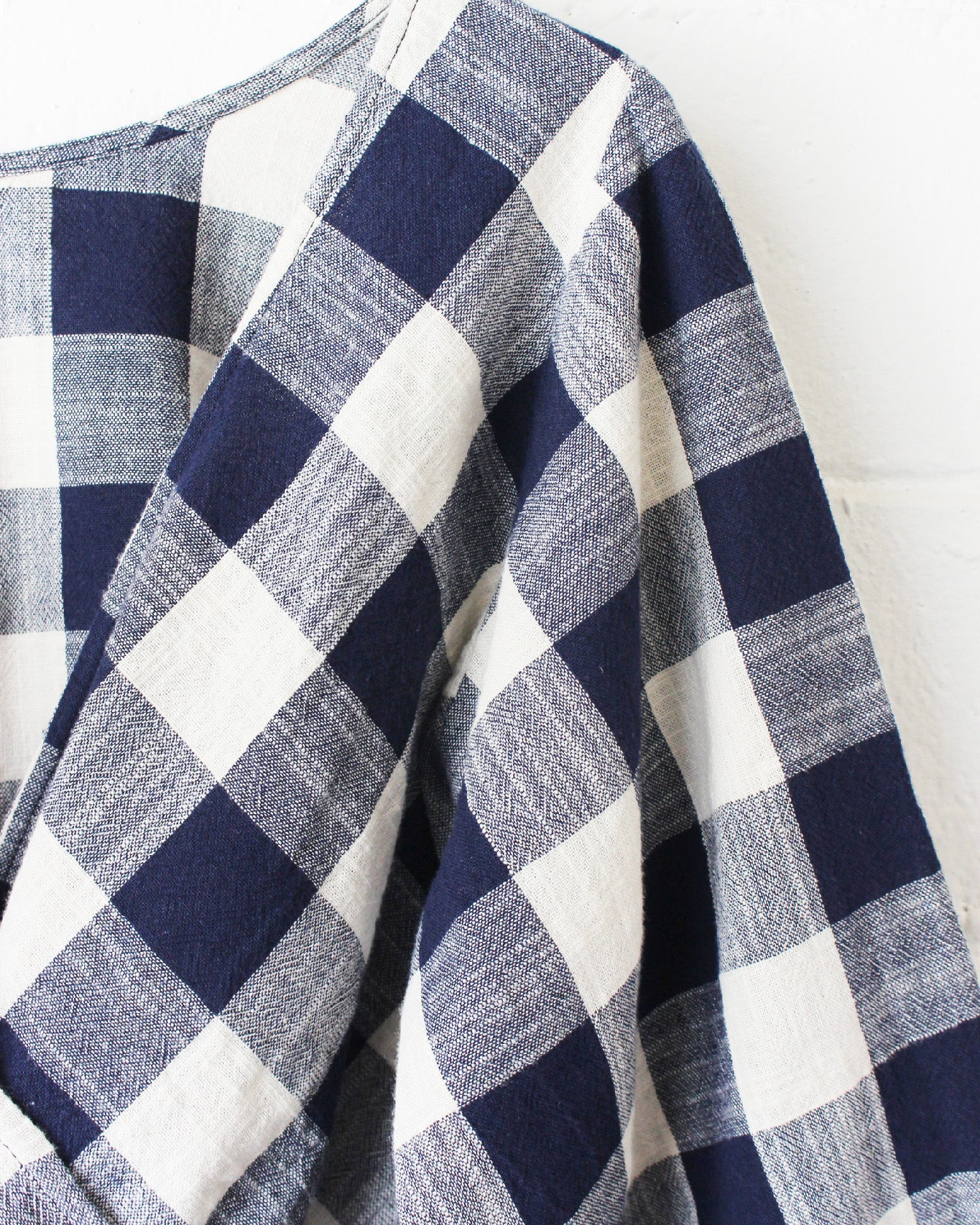 MARIE PRAIRIE BLOUSE - NAVY PLAID