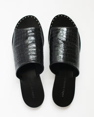 FREDA SALVADOR - PURE SLIP ON SANDAL - BLACK EMBOSSED CROC