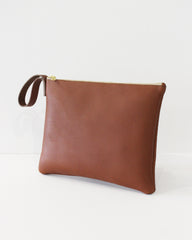 ESBY CLUTCH - BROWN CALFSKIN