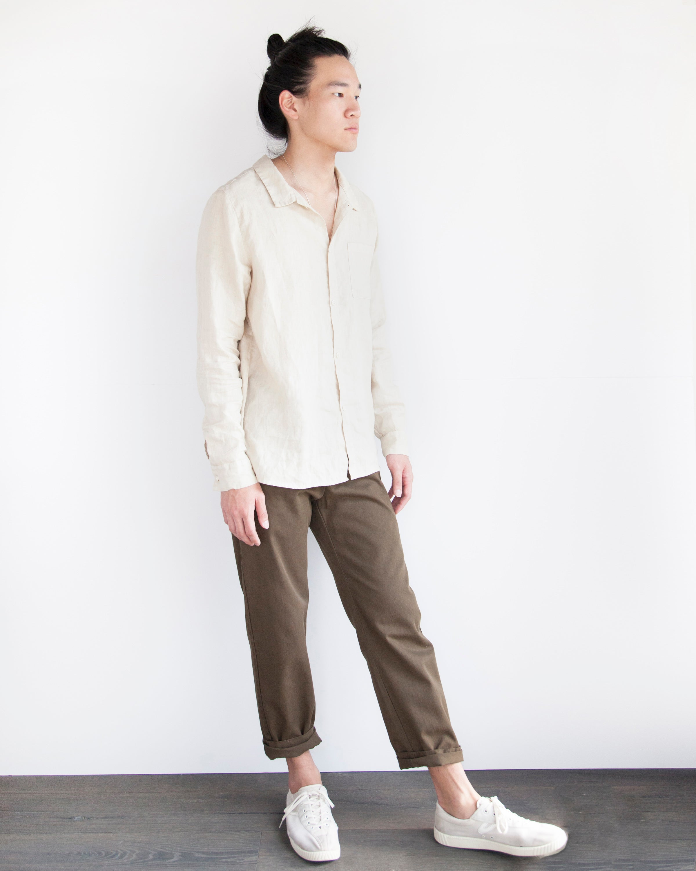 WILLIAM LINEN BUTTON DOWN - DUNE