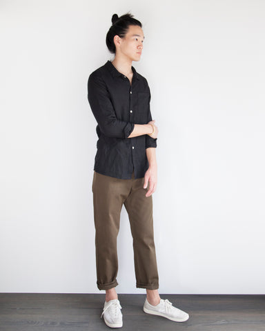 WILLIAM LINEN BUTTON DOWN - BLACK