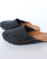 MOHINDERS - WOMEN'S CITY SLIPPER - WOVEN - IRON DYED LEATHER