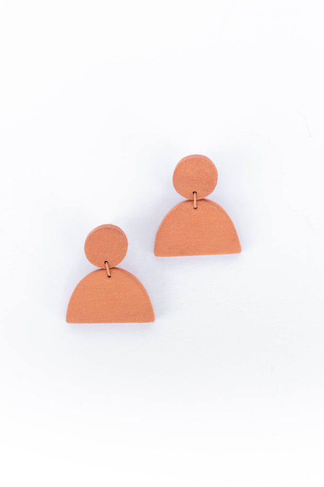 Load image into Gallery viewer, GUTEN CO - CRESCENT EARRING - TERRA COTTA