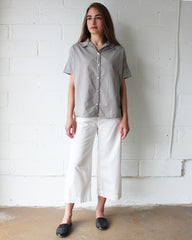 grey short sleeve button down