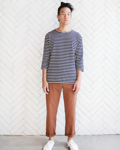 MEN'S 3/4 SLEEVE LIFETIME CREW - NAVY/NATURAL STRIPE