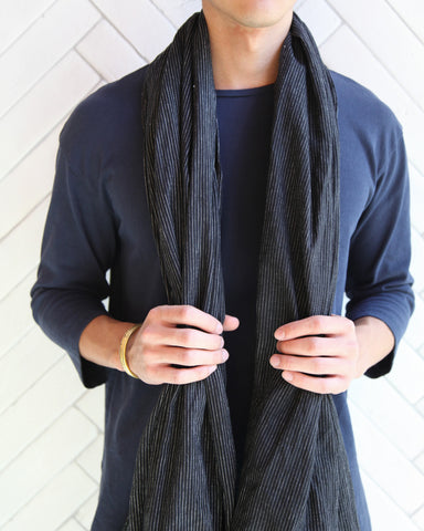 STRIPE LARGE SCARF - BLACK/WHITE