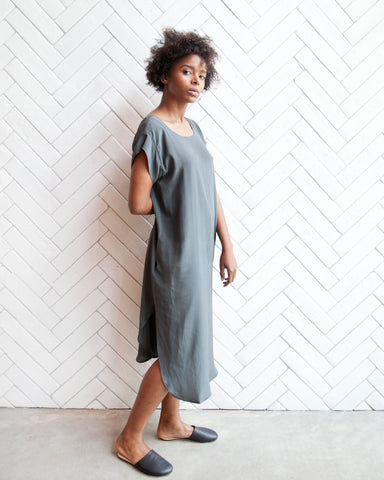 KATE SILK DRESS - PINE