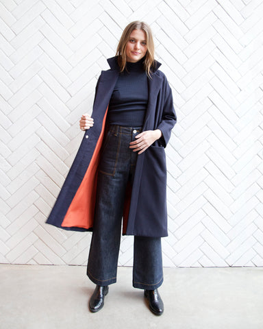 CLAIRE WOOL DUSTER - NAVY